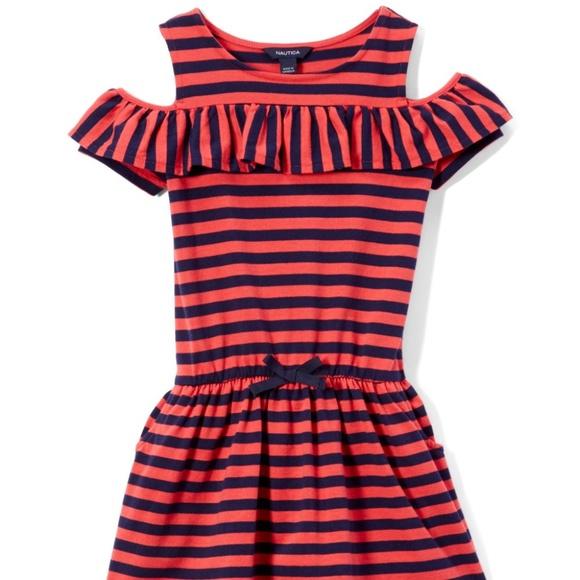Nautica Red & Navy Stripe Cold-Shoulder Dress